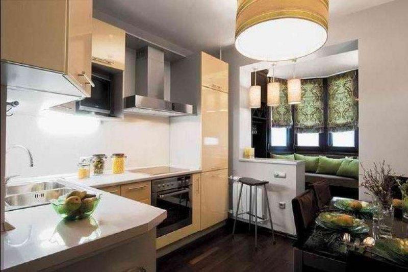 Дизайн проект кухни гостиной с балконом кирпичом.