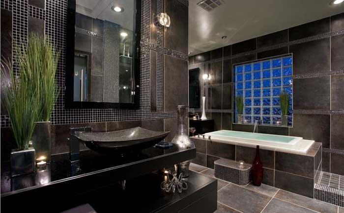 фото ванных комнат черно белых