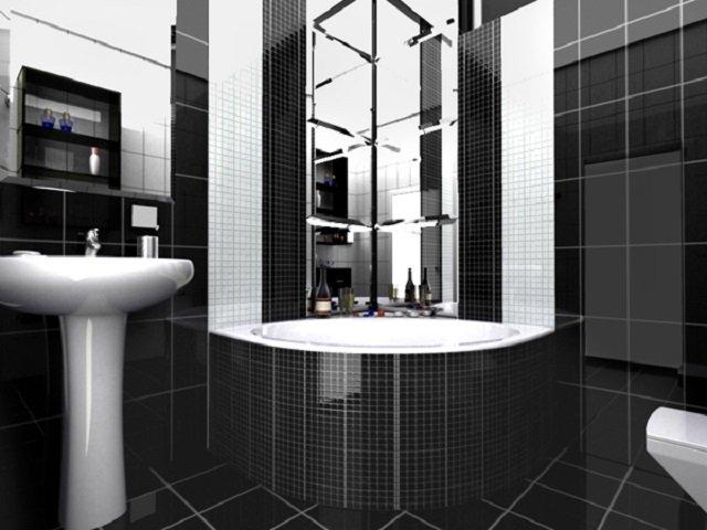 Дизайн ванной в черно белых тонах с
